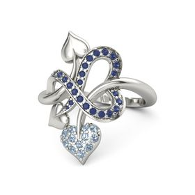 18K White Gold Ring with Blue Topaz and Blue Sapphire