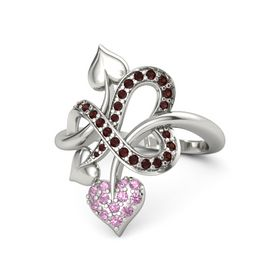 18K White Gold Ring with Pink Tourmaline and Red Garnet