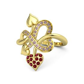 18K Yellow Gold Ring with Ruby and Rhodolite Garnet
