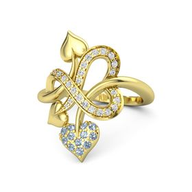 18K Yellow Gold Ring with Blue Topaz and White Sapphire