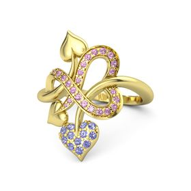 18K Yellow Gold Ring with Iolite and Pink Tourmaline
