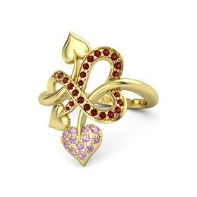 18K Yellow Gold Ring with Pink Tourmaline and Ruby