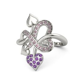 Palladium Ring with Amethyst & Rhodolite Garnet