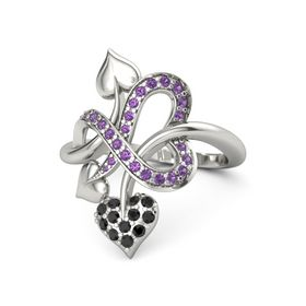 Palladium Ring with Black Diamond and Amethyst