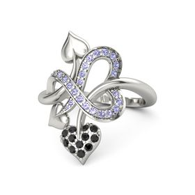 Palladium Ring with Black Diamond and Tanzanite