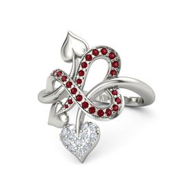 Palladium Ring with Diamond and Ruby