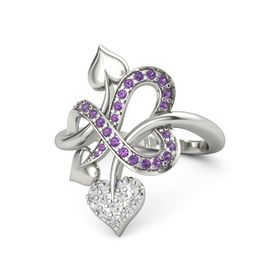 Palladium Ring with White Sapphire and Amethyst