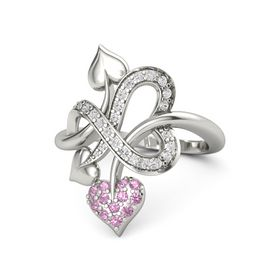 Palladium Ring with Pink Tourmaline & White Sapphire