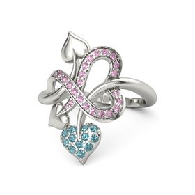 Platinum Ring with London Blue Topaz & Pink Sapphire