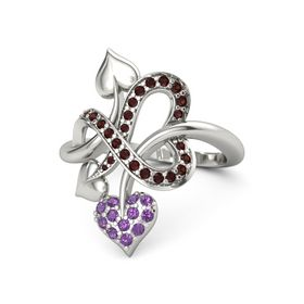 Platinum Ring with Amethyst & Red Garnet