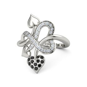Platinum Ring with Black Diamond and Diamond
