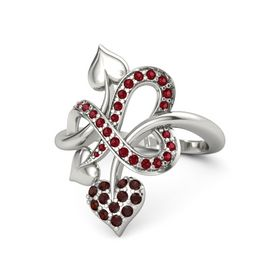 Platinum Ring with Red Garnet & Ruby