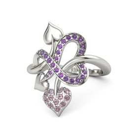 Platinum Ring with Rhodolite Garnet & Amethyst