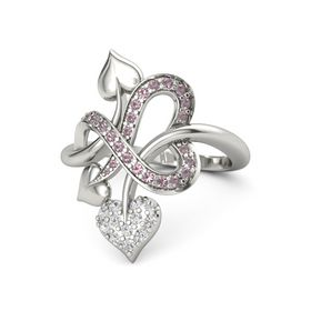 Platinum Ring with White Sapphire and Rhodolite Garnet