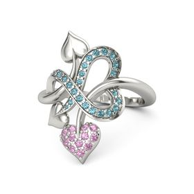 Platinum Ring with Pink Tourmaline & London Blue Topaz
