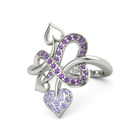Platinum Ring with Tanzanite and Amethyst