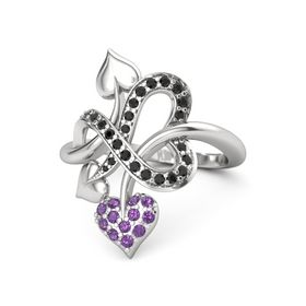 Sterling Silver Ring with Amethyst & Black Diamond