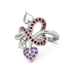 Sterling Silver Ring with Amethyst & Ruby