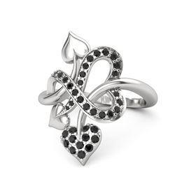 Sterling Silver Ring with Black Diamond