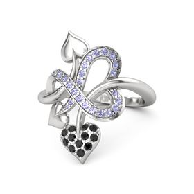 Sterling Silver Ring with Black Diamond & Tanzanite