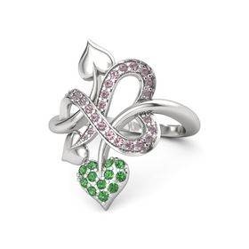 Sterling Silver Ring with Emerald & Rhodolite Garnet