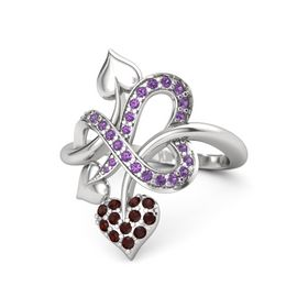 Sterling Silver Ring with Red Garnet and Amethyst