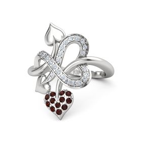 Sterling Silver Ring with Red Garnet & Diamond
