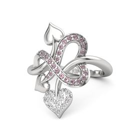 Sterling Silver Ring with White Sapphire & Rhodolite Garnet