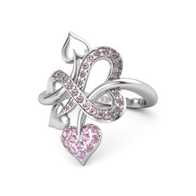 Sterling Silver Ring with Pink Sapphire and Rhodolite Garnet