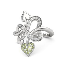 Sterling Silver Ring with Peridot & White Sapphire