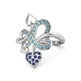 Sterling Silver Ring with Sapphire & London Blue Topaz
