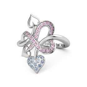 Sterling Silver Ring with Blue Topaz and Pink Sapphire