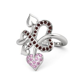 Sterling Silver Ring with Pink Tourmaline and Red Garnet