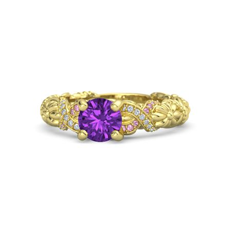 Round Amethyst 14K Yellow Gold Ring With Diamond Pink Tourmaline Knot