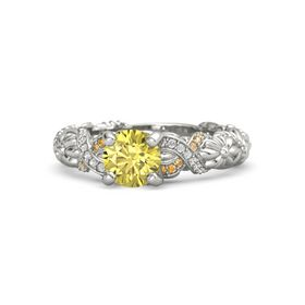 Round Yellow Sapphire Palladium Ring with White Sapphire and Citrine