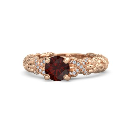 d993276d58665 Knotted Bouquet Ring - Round Red Garnet 14K Rose Gold Ring with Diamond