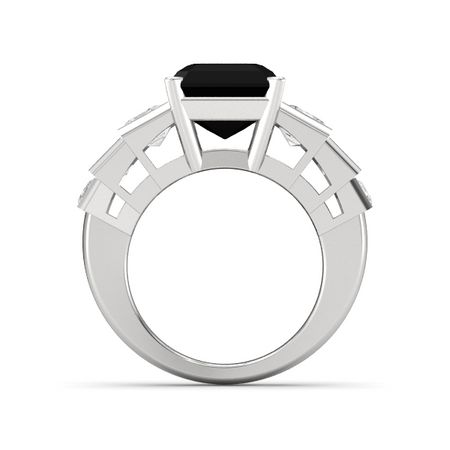 emerald cut black onyx sterling silver ring with white