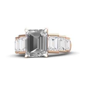 Emerald-Cut Rock Crystal 14K Rose Gold Ring with White Sapphire