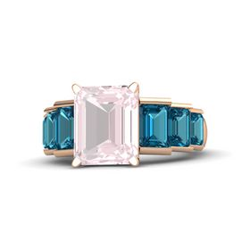 Emerald-Cut Rose Quartz 14K Rose Gold Ring with London Blue Topaz