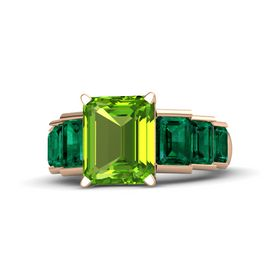 Emerald-Cut Peridot 14K Rose Gold Ring with Emerald