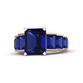 Emerald-Cut Sapphire 14K Rose Gold Ring with Sapphire