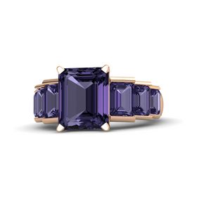 Emerald-Cut Iolite 14K Rose Gold Ring with Iolite