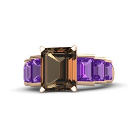 Emerald Smoky Quartz 14K Rose Gold Ring with Amethyst