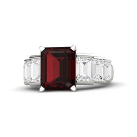 Emerald-Cut Red Garnet 14K White Gold Ring with White Sapphire