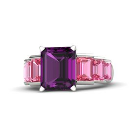 Emerald-Cut Rhodolite Garnet 14K White Gold Ring with Pink Tourmaline