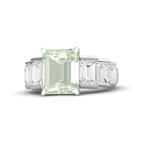 Emerald-Cut Green Amethyst 14K White Gold Ring with White Sapphire