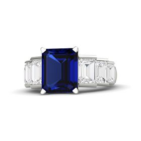 Emerald-Cut Sapphire 14K White Gold Ring with White Sapphire