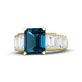 Emerald-Cut London Blue Topaz 14K Yellow Gold Ring with White Sapphire