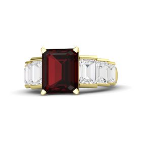 Emerald Red Garnet 14K Yellow Gold Ring with White Sapphire