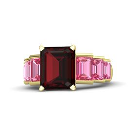 Emerald-Cut Red Garnet 14K Yellow Gold Ring with Pink Tourmaline